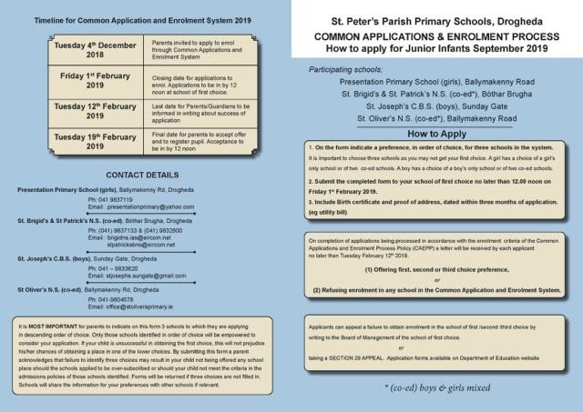 Enrolment - St Oliver's Primary School